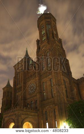 Smithsonian Castle Front Flag Night Washington Dc