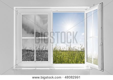 Window With Storm And Sun
