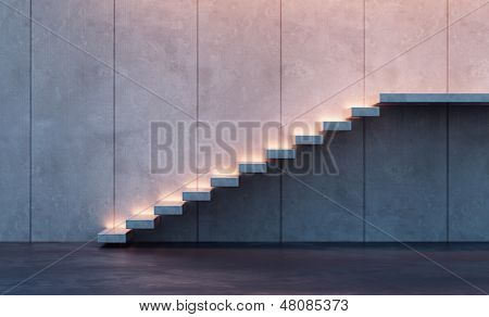 modern minimalism style stairs with night lighting