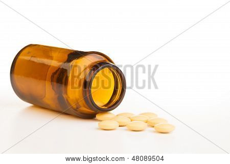 Empty Jar With Drug Tablets