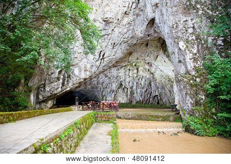 Entrance of Petnicka cave, the source of the river Banja in Valjevo. Serbia