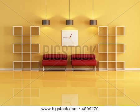 Empty Bookcase In A Living Room