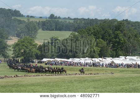 GETTYSBURG, PENNSYLVANIA - JULY 7: Reenactors at the 150th anniversary of the American Civil War on July 7, 2013 in Gettysburg, Pennsylvania.   From 1861-1865 over 640,000 combatants lost their lives.