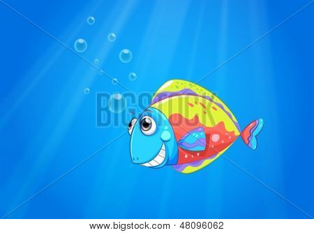 Illustration of a colorful ugly fish under the sea