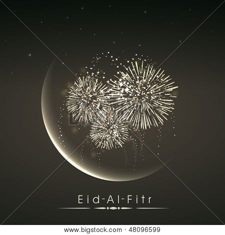 Shiny illustration of crescent of moon with fireworks in the night on occasion of muslim community festival Eid Al Fitr (Eid Mubarak).