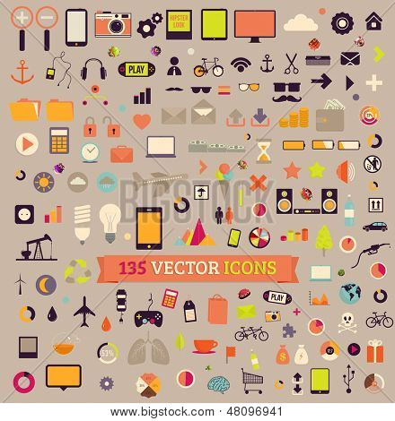 135 vector icons. Big set. Traveling, Business, Economy, Web, Internet, Ecology, Market, Phones, Tablet computers, Music, Gadgets vintage colors icons.
