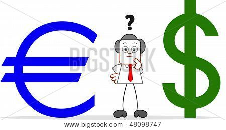 Cartoon Businessman With Euro And Dollar
