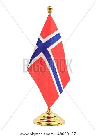 Norway National Flag Hanging On The Gold Flagstaff