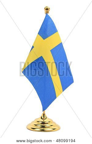 Sweden Flag Hanging On The Gold Flagstaff