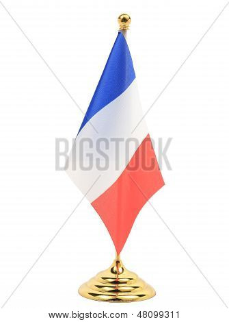 France Flag Hanging On The Gold Flagstaff