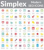 Simplex - Modern SEO Icons (Color Version) t-shirt