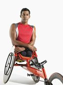 foto of paralympics  - Portrait of a paraplegic cycler against white background - JPG