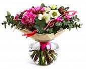 stock photo of vase flowers  - Design a bouquet of pink peonies white flowers and hypericum - JPG