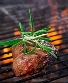 picture of braai  - closeup of a steak on grill - JPG