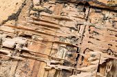 picture of termite  - Damaged wood box eaten by termites in Thailand - JPG