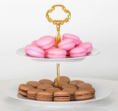 stock photo of three tier  - French macarons on two tier serving tray - JPG