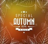 stock photo of fall decorations  - Autumn sale vector retro poster with abstract blurred fall background and white leafs - JPG