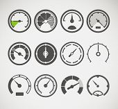 pic of speedometer  - Different slyles of speedometers vector collection - JPG