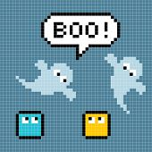 8-bit Pixel Ghosts Say Boo