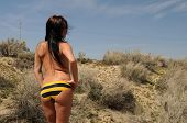 picture of implied nudity  - Tall topless brunette in yellow panties Hesperia California - JPG