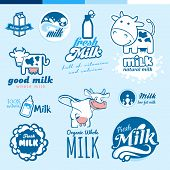 picture of milk products  - Set of labels - JPG