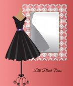 image of little black dress  - All occasion little black dress in front of decorative mirror - JPG