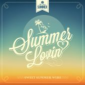 foto of nostalgic  - Beautiful Summer Lovin Typography Background For Summer - JPG