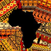 image of motif  - Africa map on ethnic background with traditional elements - JPG