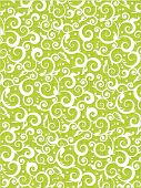 stock photo of scrollwork  - scrolls and swirls floral pattern background of fresh green colors with fabric texture - JPG