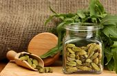 stock photo of cardamom  - Jar of green cardamom with rocket on canvas background close - JPG