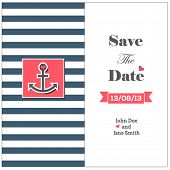 image of anchor  - Wedding nautical invitation card with anchor - JPG