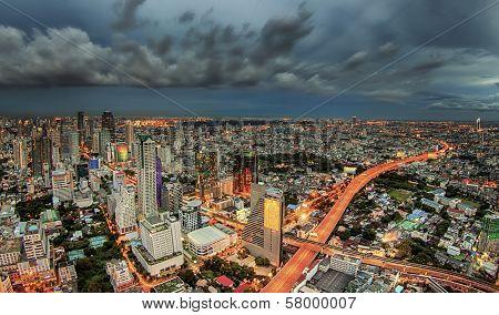 Bangkok City At Dusk And Transportation
