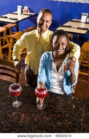 Couple having drinks in a restaurant