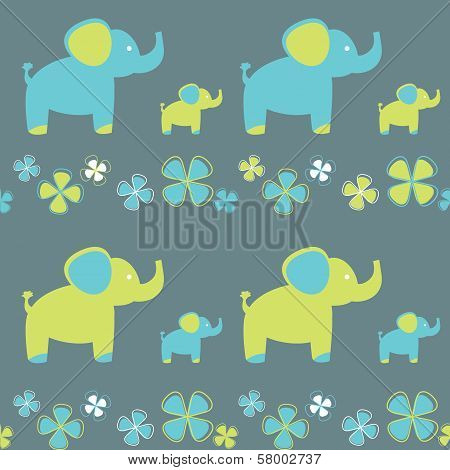 vector seamless pattern of flowers and elephant