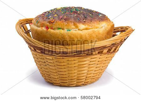Easter Bread In A Basket On A White Background
