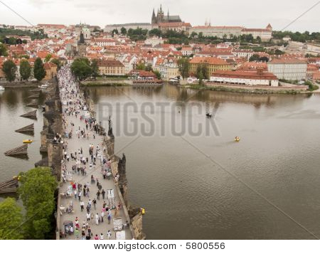 Charles Bridge With Pedestrians