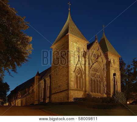 Cathedral At Night In Stavanger, Norway.