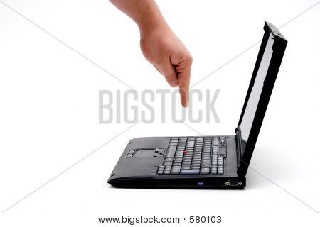 Hand On Laptop
