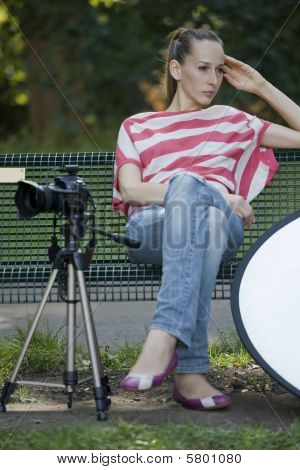 Tired Female Photographer