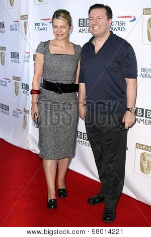 Jane Fallon and Ricky Gervais  at the 6th Annual BAFTA TV Tea Party. Intercontinental Hotel, Century City, CA. 09-20-08