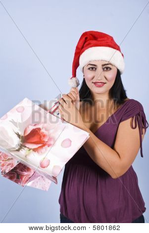 Woman With Christmas Shopping Bags