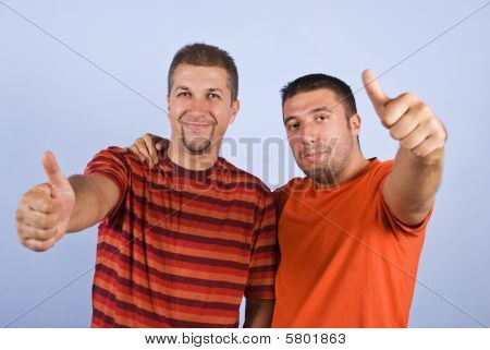 Successful Friends Give Thumbs Up