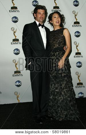 Sandra Oh and Patrick Dempsey  in the press room at the 60th Annual Primetime Emmy Awards. Nokia Theater, Los Angeles, CA. 09-21-08