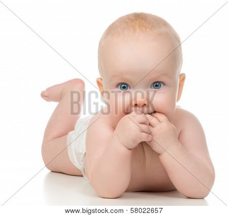 Infant Child Baby Girl Lying With Hands In The Mouth