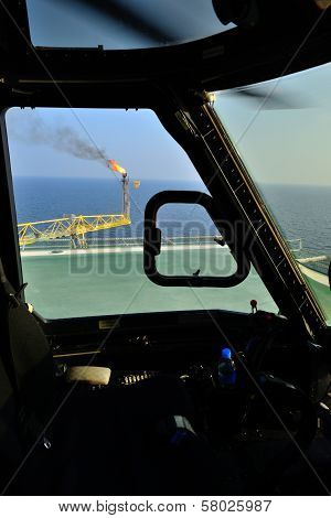 Oil Rig Is Take From Helicopter Cockpit