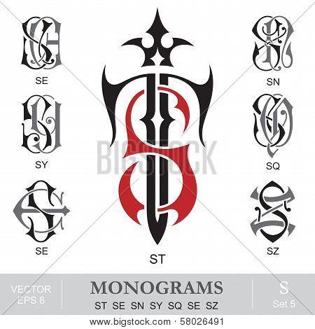 Vintage Monograms ST SE SN SY SQ SE SZ