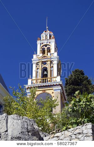 Church Tower On The Symi Island
