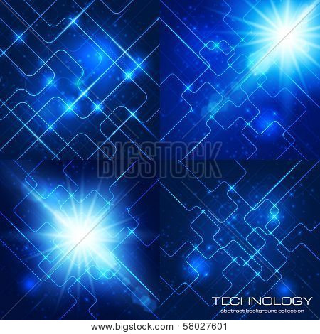 Set of technology backgrounds
