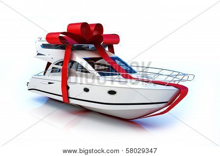 Boat with red bow