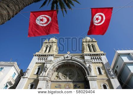 Cathedral With Flags